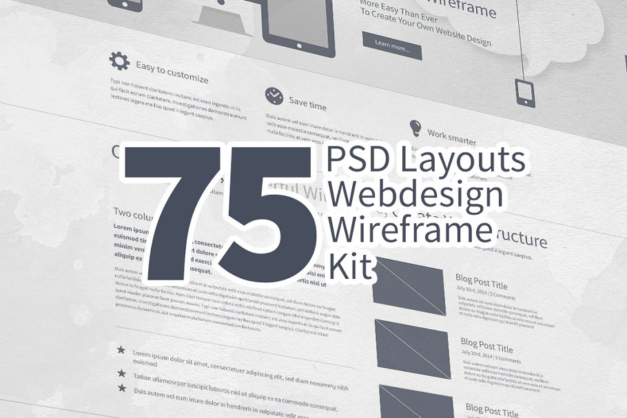 75 Layouts Webdesign Wireframe Kit ~ Product Mockups ~ Creative Market a0fe4f22ced