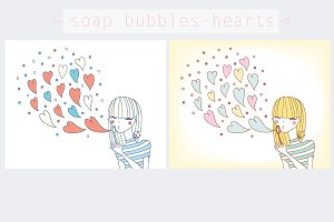 Soap bubbles-hearts.