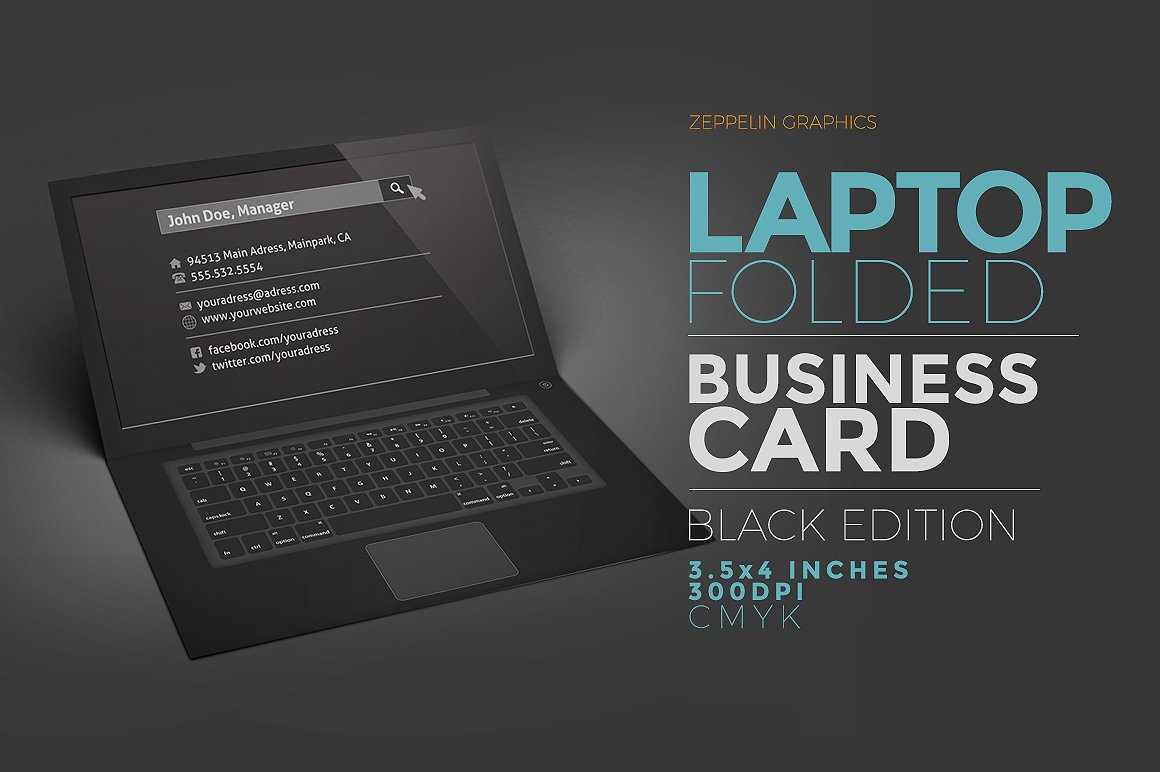 Laptop Business Card Black Edition Business Card Templates - Folded business card template