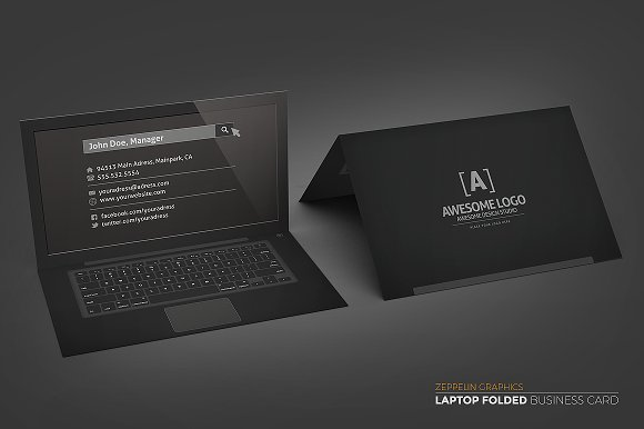 Laptop business card black edition business card templates laptop business card black edition business card templates creative market fbccfo Choice Image