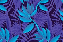 Seamless tropical blue pattern