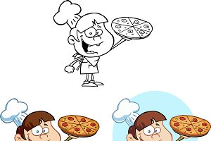 Boy Chef Holding A Pizza. Collection
