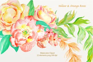Watercolor Clip Art Orange Rose