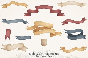Fall Watercolor Ribbons Cliparts