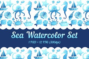 SEA WATERCOLOR SET
