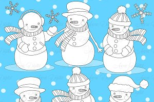 Snowman Digital Stamp
