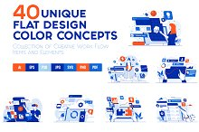 Set of 40 Modern Flat Design Concept
