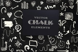 Vector chalk elements collection