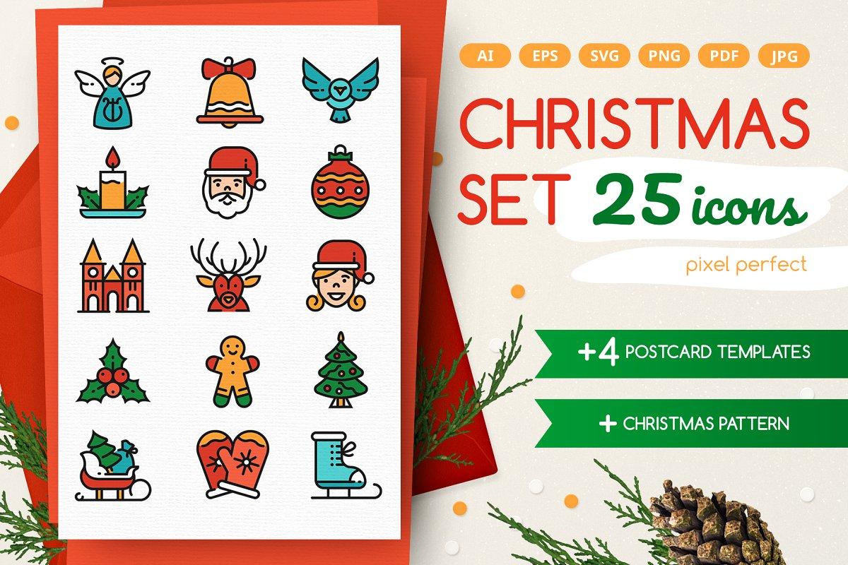 Christmas Line Icons Set + Bonuses