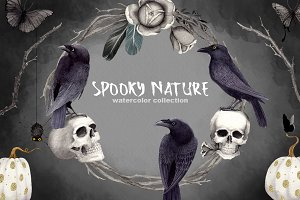 Halloween Clipart Set Spooky Nature