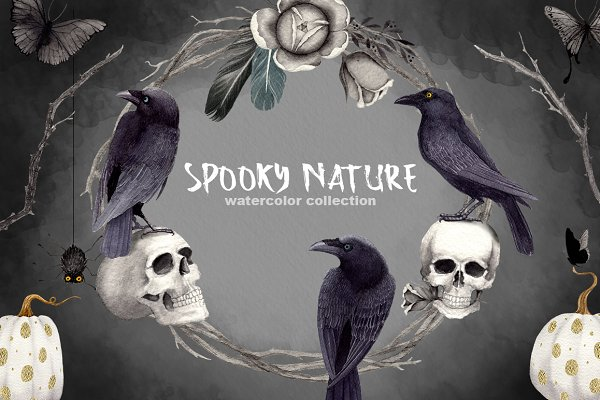 Halloween Clipart Set Spooky Nature