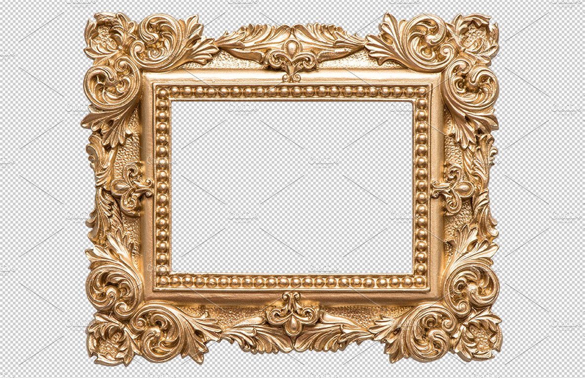 Golden picture frame png graphic objects creative market for Large a frame