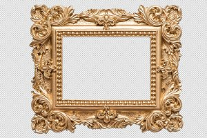 Golden picture frame PNG