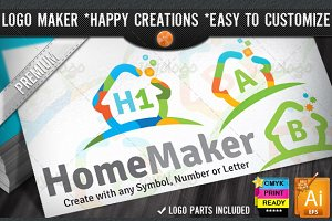 Colorful Flat Home Logo Maker Set