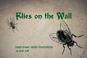 Houseflies Vector Illustration