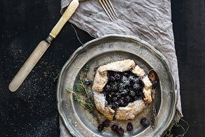 Homemade crostata with blueberries