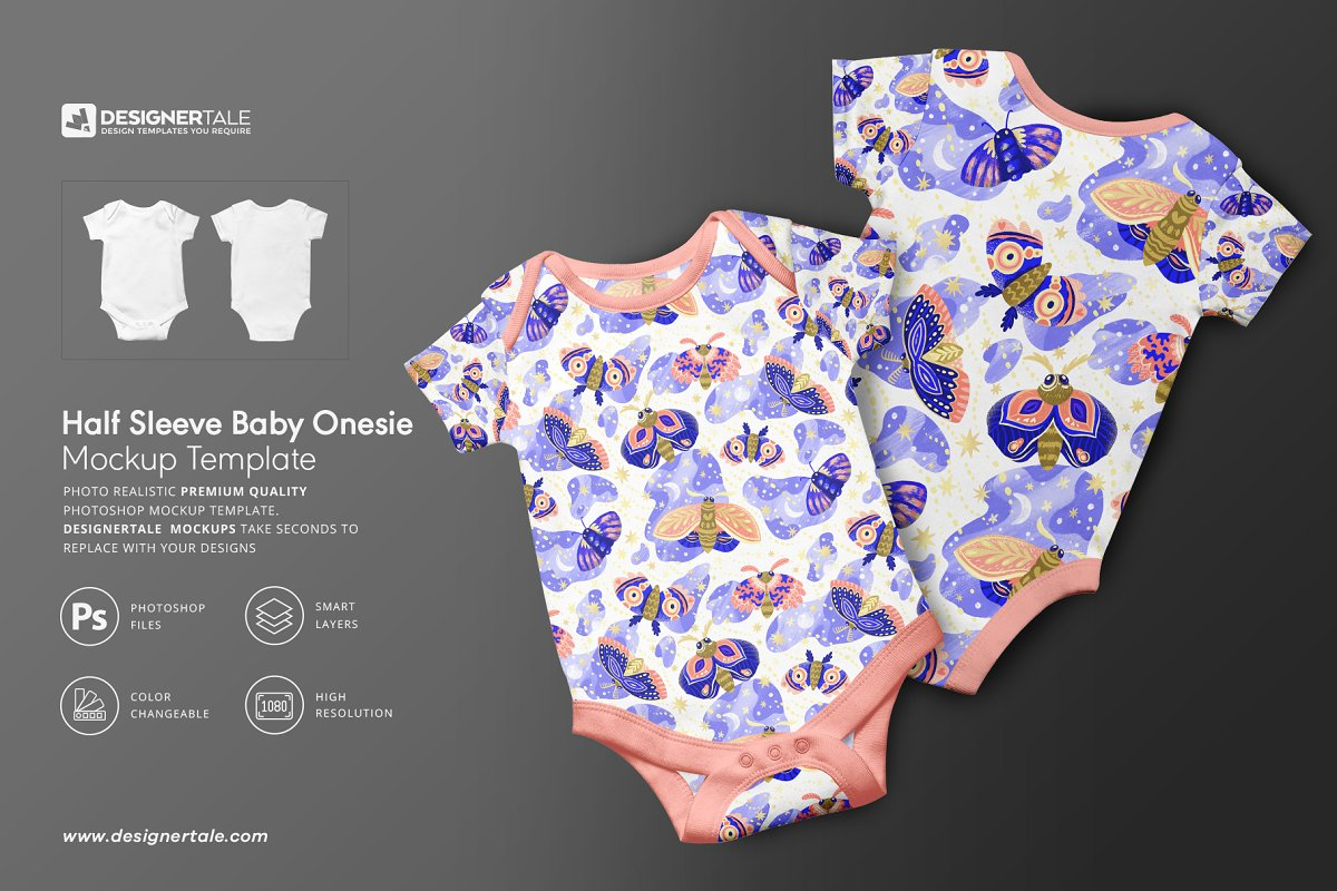 Half Sleeve Baby Onesie Mockup in Product Mockups - product preview 8