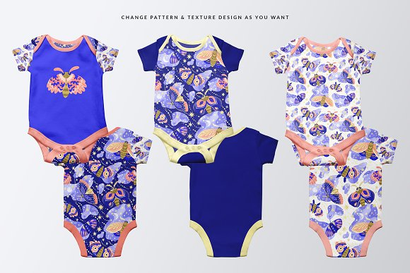 Half Sleeve Baby Onesie Mockup in Product Mockups - product preview 1