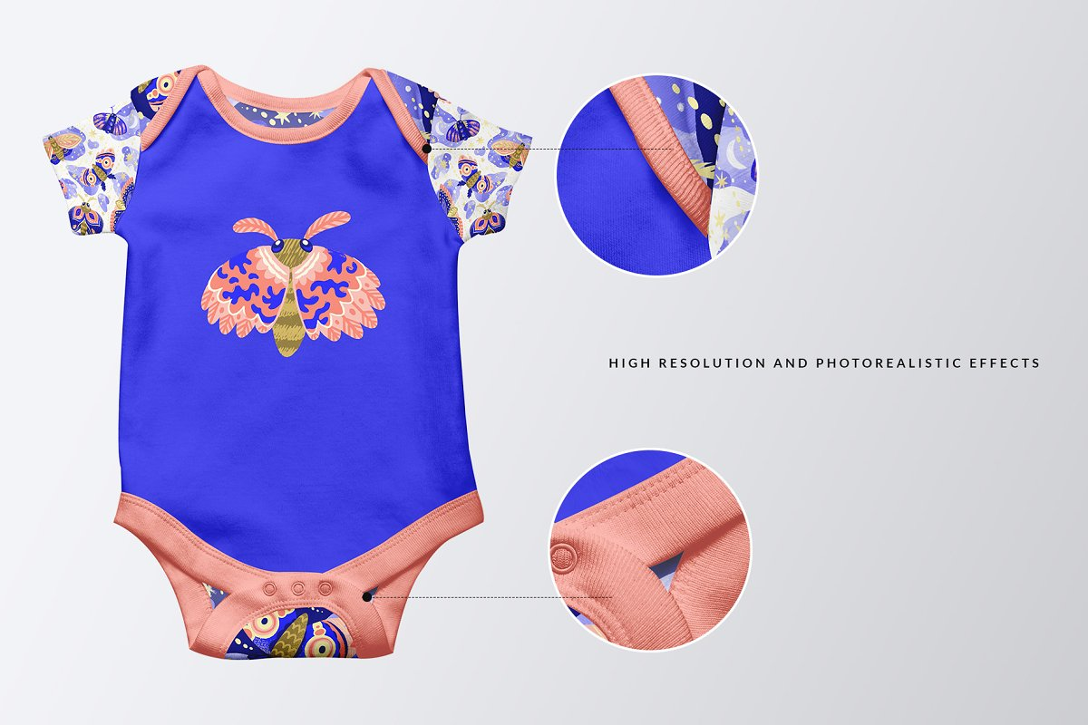 Half Sleeve Baby Onesie Mockup in Templates - product preview 2