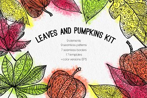 Leaves and pumpkins kit EPS