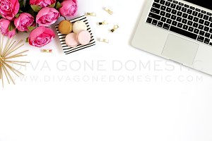 Styled Stock Photo - Laptop & Roses