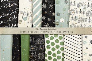 Home for Christmas Digital Papers