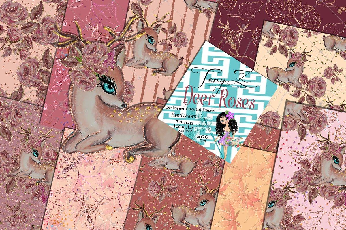 Deer Roses Pattern Pastel floral