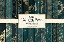 Gilded Teal Book Covers