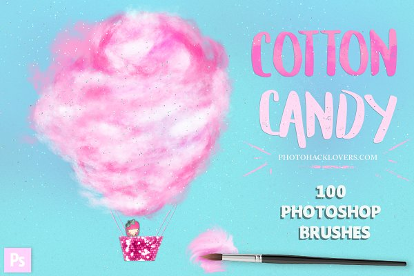 100 Cotton Candy Photoshop Brushes