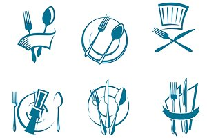 Restaurant menu icons and symbols