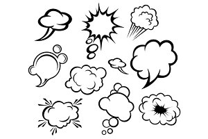 Speech bubbles and clouds