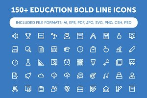 150+ Education Bold Line Icons