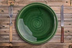 Empty green plate