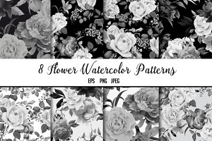 Seamless floral patterns B&W