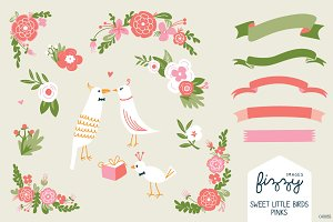 Wedding: Pink Floral & Birds Bundle