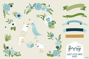 Wedding: Blue Floral & Birds Bundle