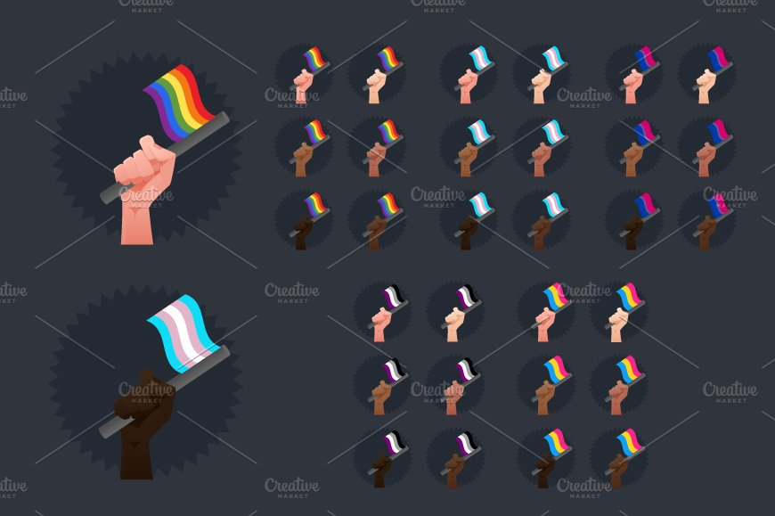 sexuality flags all races illustrations creative market