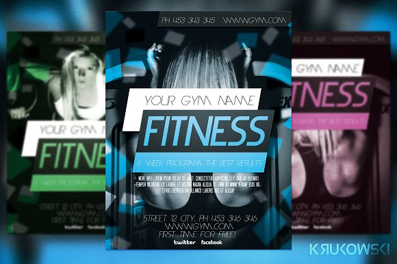 Fitness Flyer Template Flyer Templates on Creative Market – Fitness Flyer