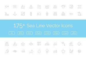 175+ Sea Line Vector Icons