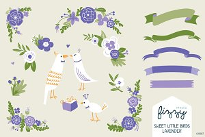 Wedding: Lavender Floral & Birds Set