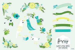 Wedding: Sea Green Floral & Bird Set