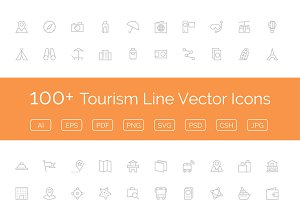 100+ Tourism Line Vector Icons