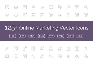 125+ Online Marketing Vector Icons