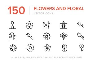150 Flowers and Floral Vector Icons