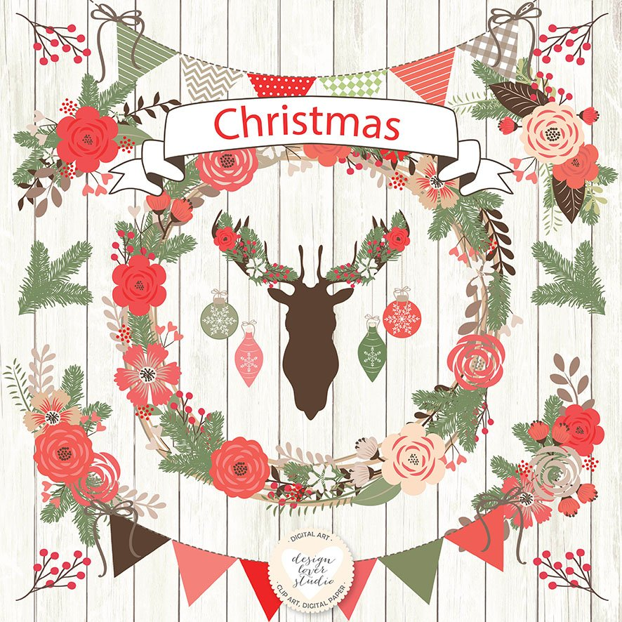 Christmas rustic. Vector cliparts