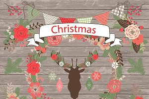 Vector Rustic christmas cliparts