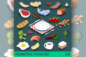 Diet Set Food Isometric