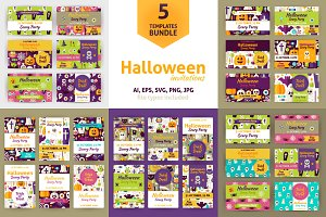 Halloween Flat Vector Invitations