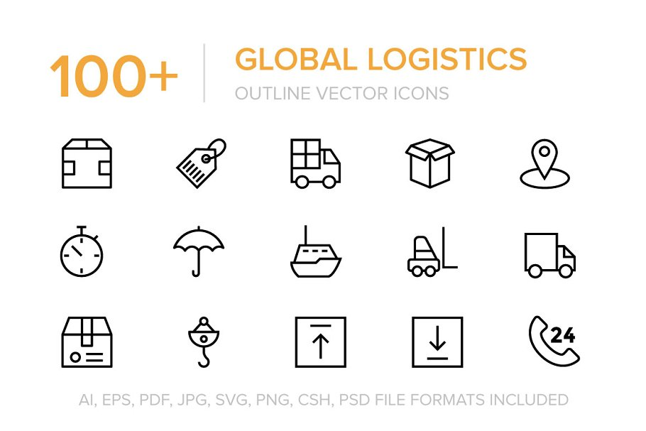 100+ Global Logistics Vector Icons