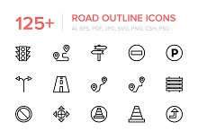 125+ Road Outline Vector Icons